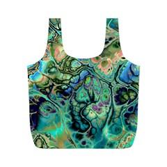 Fractal Batik Art Teal Turquoise Salmon Full Print Recycle Bags (M)