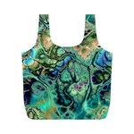Fractal Batik Art Teal Turquoise Salmon Full Print Recycle Bags (M)  Back