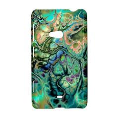 Fractal Batik Art Teal Turquoise Salmon Nokia Lumia 625