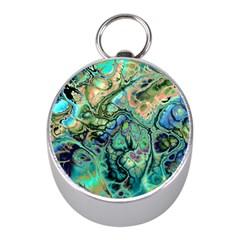 Fractal Batik Art Teal Turquoise Salmon Mini Silver Compasses