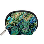 Fractal Batik Art Teal Turquoise Salmon Accessory Pouches (Small)  Front