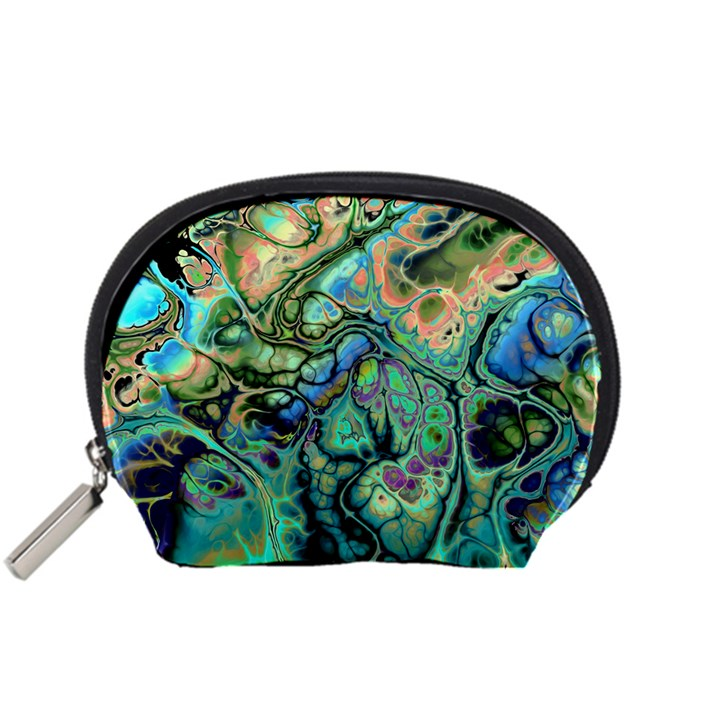 Fractal Batik Art Teal Turquoise Salmon Accessory Pouches (Small)
