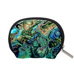 Fractal Batik Art Teal Turquoise Salmon Accessory Pouches (Small)  Back