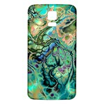 Fractal Batik Art Teal Turquoise Salmon Samsung Galaxy S5 Back Case (White) Front