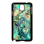 Fractal Batik Art Teal Turquoise Salmon Samsung Galaxy Note 3 Neo Hardshell Case (Black) Front