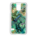 Fractal Batik Art Teal Turquoise Salmon Samsung Galaxy S5 Case (White) Front