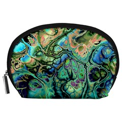 Fractal Batik Art Teal Turquoise Salmon Accessory Pouches (Large)