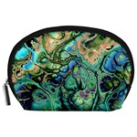 Fractal Batik Art Teal Turquoise Salmon Accessory Pouches (Large)  Front