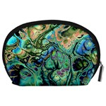 Fractal Batik Art Teal Turquoise Salmon Accessory Pouches (Large)  Back