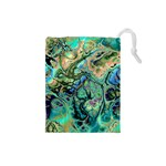 Fractal Batik Art Teal Turquoise Salmon Drawstring Pouches (Small)  Front