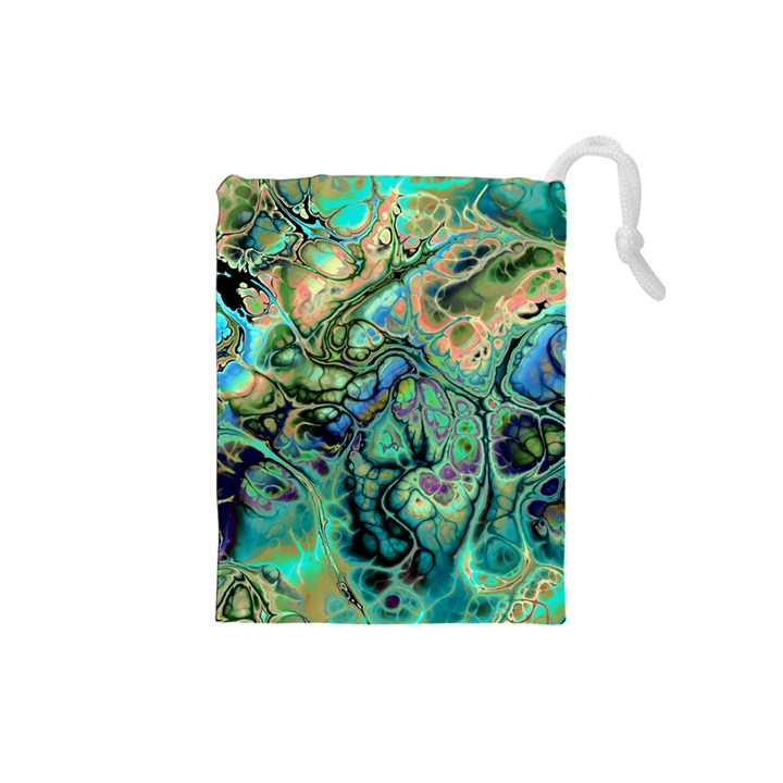 Fractal Batik Art Teal Turquoise Salmon Drawstring Pouches (Small)