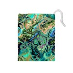 Fractal Batik Art Teal Turquoise Salmon Drawstring Pouches (Medium)  Front