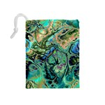 Fractal Batik Art Teal Turquoise Salmon Drawstring Pouches (Medium)  Back