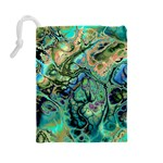 Fractal Batik Art Teal Turquoise Salmon Drawstring Pouches (Large)  Back