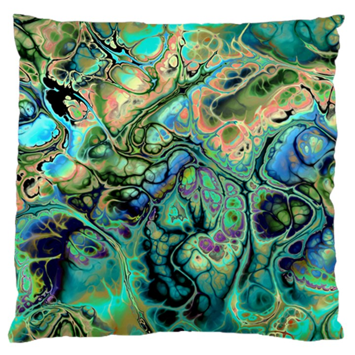 Fractal Batik Art Teal Turquoise Salmon Large Flano Cushion Case (One Side)