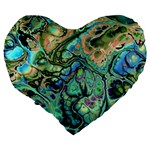 Fractal Batik Art Teal Turquoise Salmon Large 19  Premium Flano Heart Shape Cushions Back