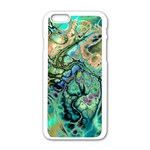 Fractal Batik Art Teal Turquoise Salmon Apple iPhone 6/6S White Enamel Case Front