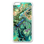 Fractal Batik Art Teal Turquoise Salmon Apple iPhone 6 Plus/6S Plus Enamel White Case Front