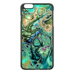 Fractal Batik Art Teal Turquoise Salmon Apple iPhone 6 Plus/6S Plus Black Enamel Case Front