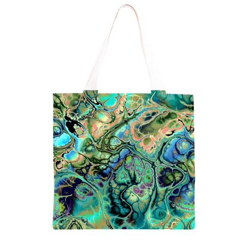 Fractal Batik Art Teal Turquoise Salmon Grocery Light Tote Bag