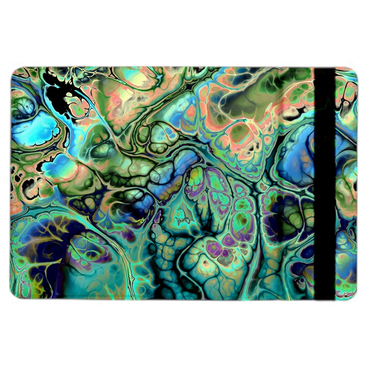 Fractal Batik Art Teal Turquoise Salmon iPad Air 2 Flip