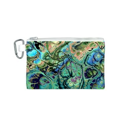 Fractal Batik Art Teal Turquoise Salmon Canvas Cosmetic Bag (S)