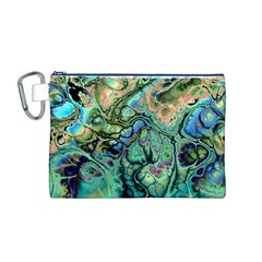 Fractal Batik Art Teal Turquoise Salmon Canvas Cosmetic Bag (M)