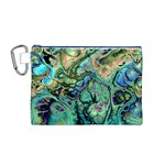 Fractal Batik Art Teal Turquoise Salmon Canvas Cosmetic Bag (M) Front