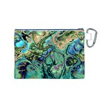 Fractal Batik Art Teal Turquoise Salmon Canvas Cosmetic Bag (M) Back