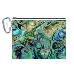 Fractal Batik Art Teal Turquoise Salmon Canvas Cosmetic Bag (L) Front