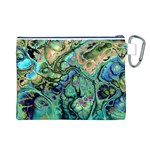 Fractal Batik Art Teal Turquoise Salmon Canvas Cosmetic Bag (L) Back