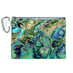 Fractal Batik Art Teal Turquoise Salmon Canvas Cosmetic Bag (xl)