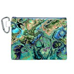 Fractal Batik Art Teal Turquoise Salmon Canvas Cosmetic Bag (XL) Front