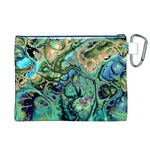 Fractal Batik Art Teal Turquoise Salmon Canvas Cosmetic Bag (XL) Back