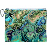 Fractal Batik Art Teal Turquoise Salmon Canvas Cosmetic Bag (XXXL) Front
