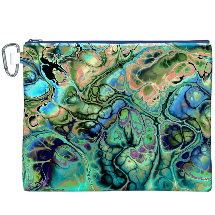Fractal Batik Art Teal Turquoise Salmon Canvas Cosmetic Bag (XXXL)