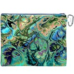 Fractal Batik Art Teal Turquoise Salmon Canvas Cosmetic Bag (XXXL) Back