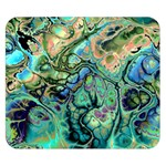 Fractal Batik Art Teal Turquoise Salmon Double Sided Flano Blanket (Small)  50 x40 Blanket Front