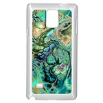 Fractal Batik Art Teal Turquoise Salmon Samsung Galaxy Note 4 Case (White) Front