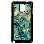 Fractal Batik Art Teal Turquoise Salmon Samsung Galaxy Note 4 Case (Black) Front