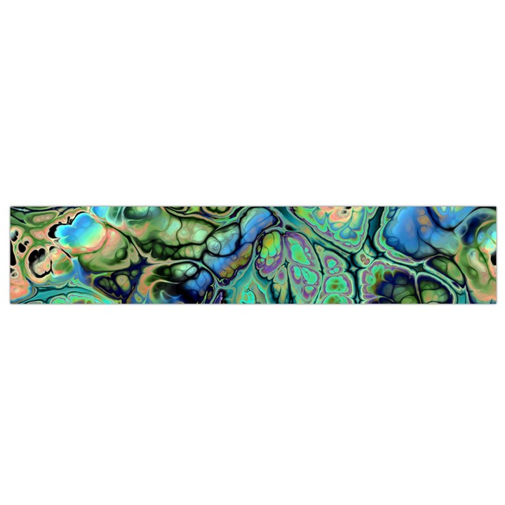 Fractal Batik Art Teal Turquoise Salmon Flano Scarf (Small)