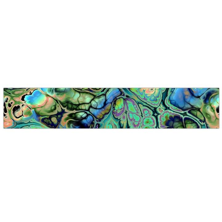 Fractal Batik Art Teal Turquoise Salmon Flano Scarf (Large)