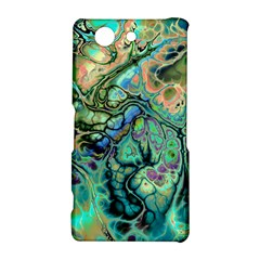 Fractal Batik Art Teal Turquoise Salmon Sony Xperia Z3 Compact