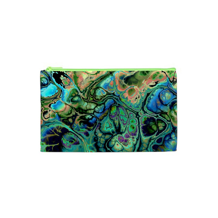 Fractal Batik Art Teal Turquoise Salmon Cosmetic Bag (XS)