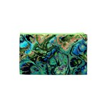 Fractal Batik Art Teal Turquoise Salmon Cosmetic Bag (XS) Back