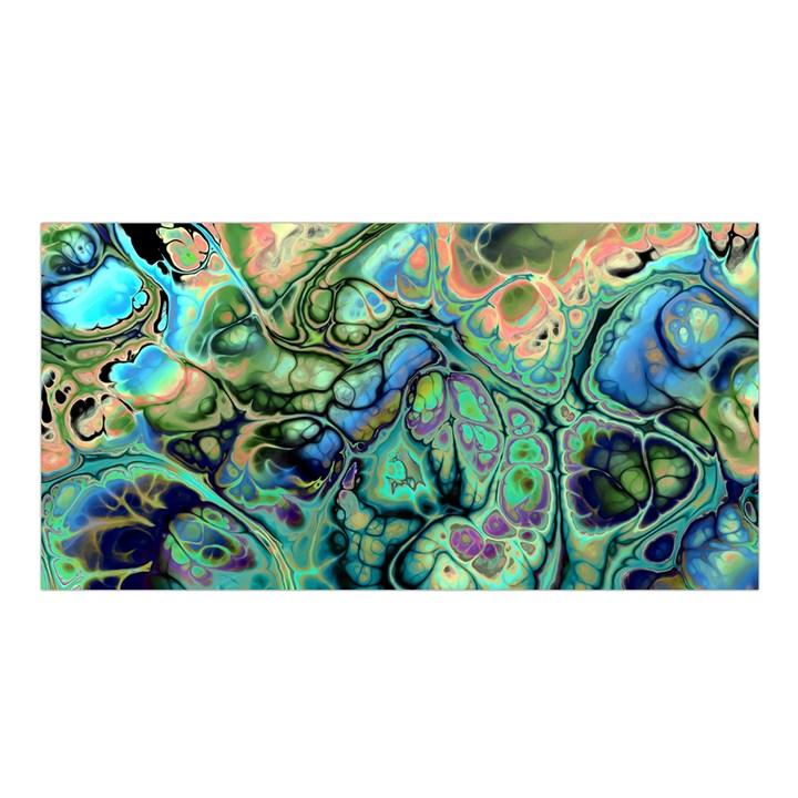 Fractal Batik Art Teal Turquoise Salmon Satin Shawl
