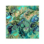 Fractal Batik Art Teal Turquoise Salmon Small Satin Scarf (Square) Front