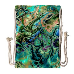 Fractal Batik Art Teal Turquoise Salmon Drawstring Bag (Large)