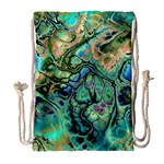Fractal Batik Art Teal Turquoise Salmon Drawstring Bag (Large) Front
