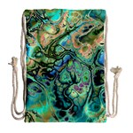 Fractal Batik Art Teal Turquoise Salmon Drawstring Bag (Large) Back